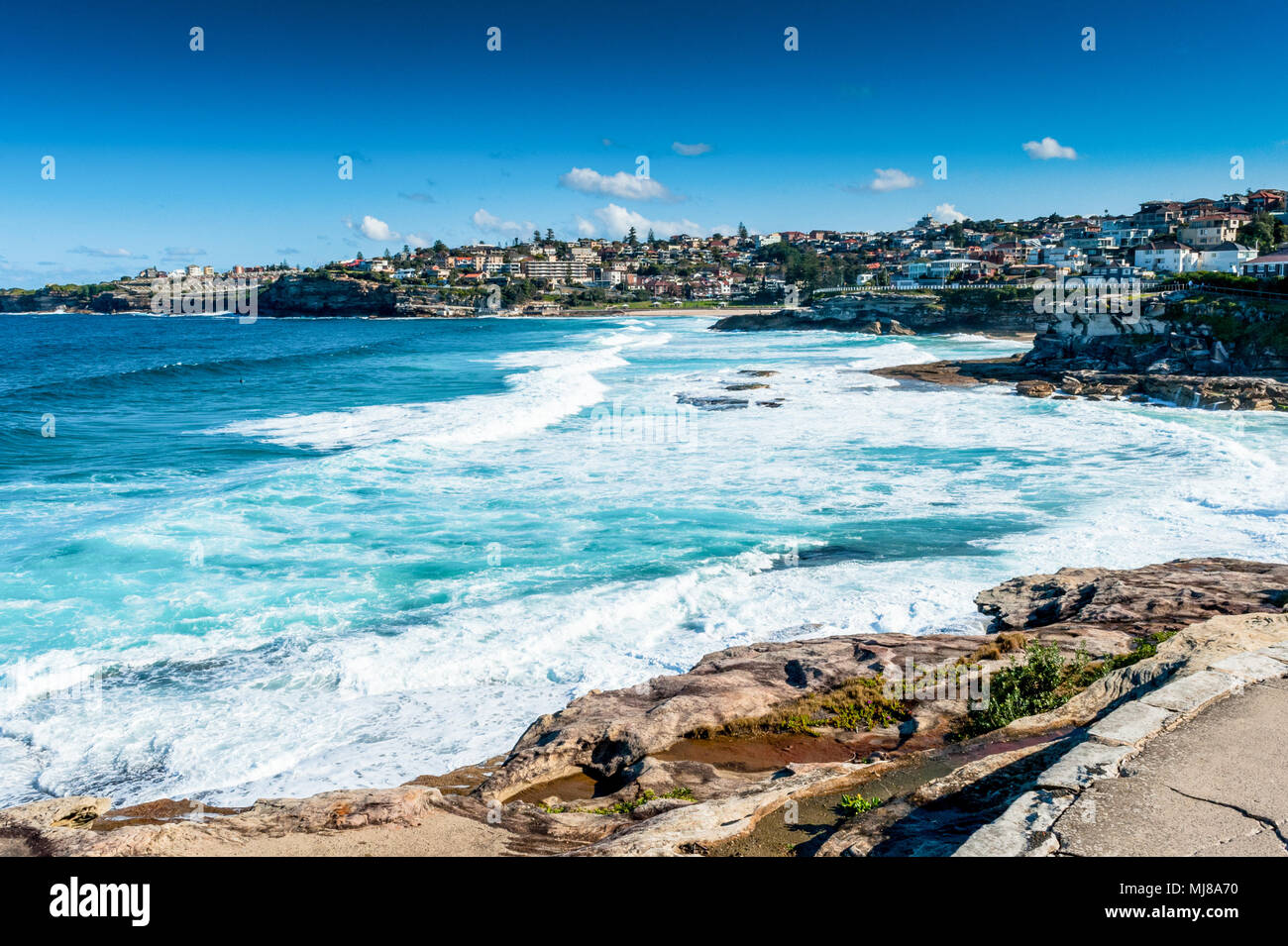 The views of the stunning coastline along the famous Coogee beach walk between Coogee and Bondi Beach ,Sydney, New South Wales , Australia. Stock Photo