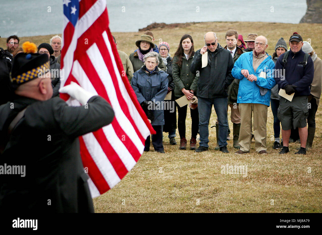 A service takes place at the American Moment at the Mull of Oa on Islay, to remember around 700 First World War soldiers who lost their lives in the sinking of two US ships off the coast of the small Scottish island. Stock Photo