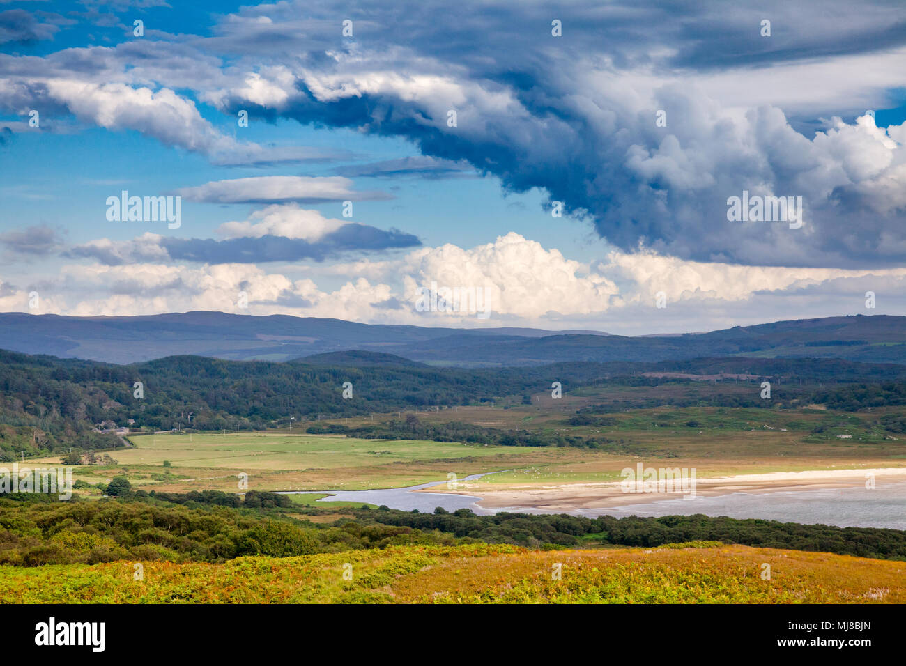 Scottish summer landscape with moody sky over the Loch Stornoway at Knapdale, Argyll and Bute, Scotland, UK - Stock Image
