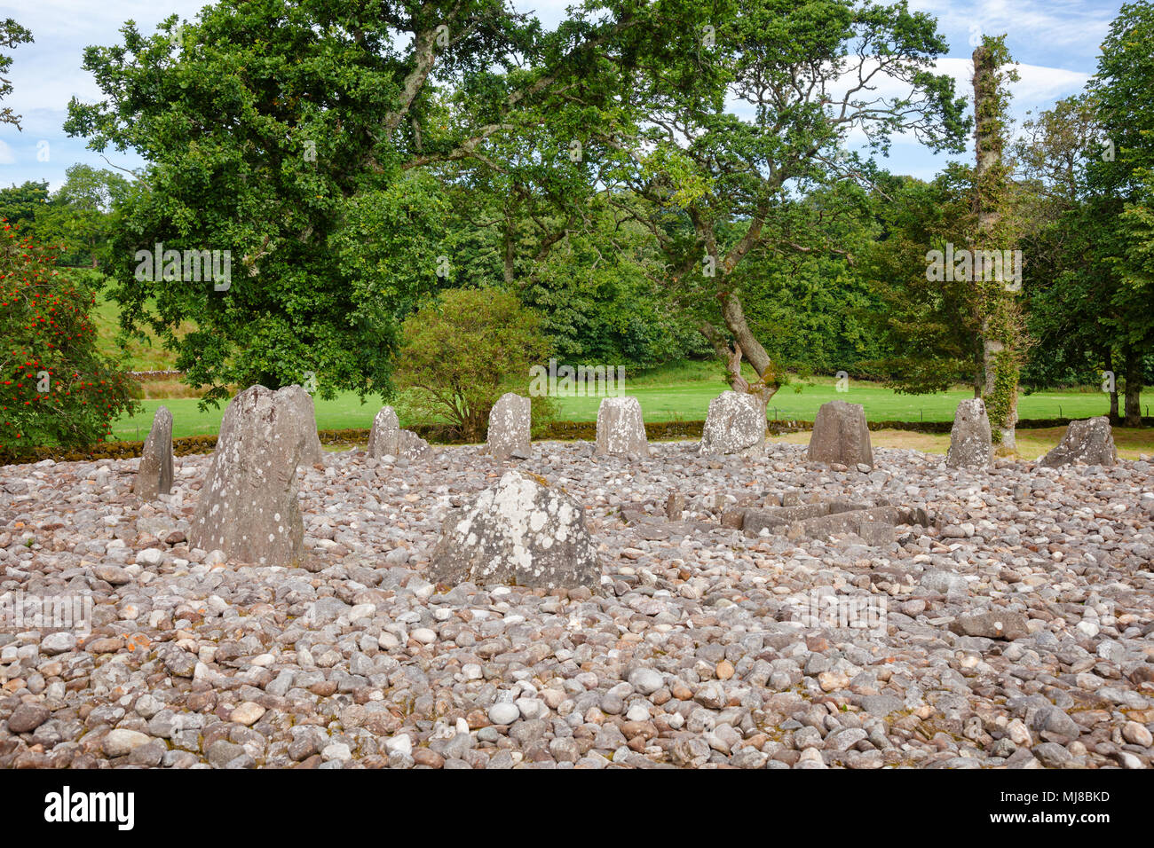 Southern circle with ring of 13 standing stones at Temple Wood (Half Moon Wood) prehistoric site  Kilmartin Glen near Kintyre, Argyll and Bute, Scotla Stock Photo