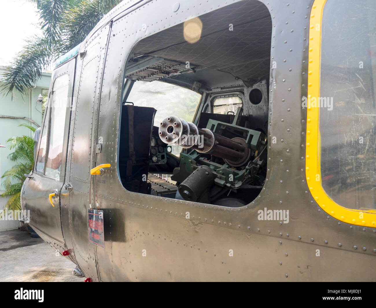 US Army Bell UH-1 Iroquois Huey helicopter from the Vietnam War on display at the War Remnants Museum, Ho Chi Minh City, Vietnam. - Stock Image