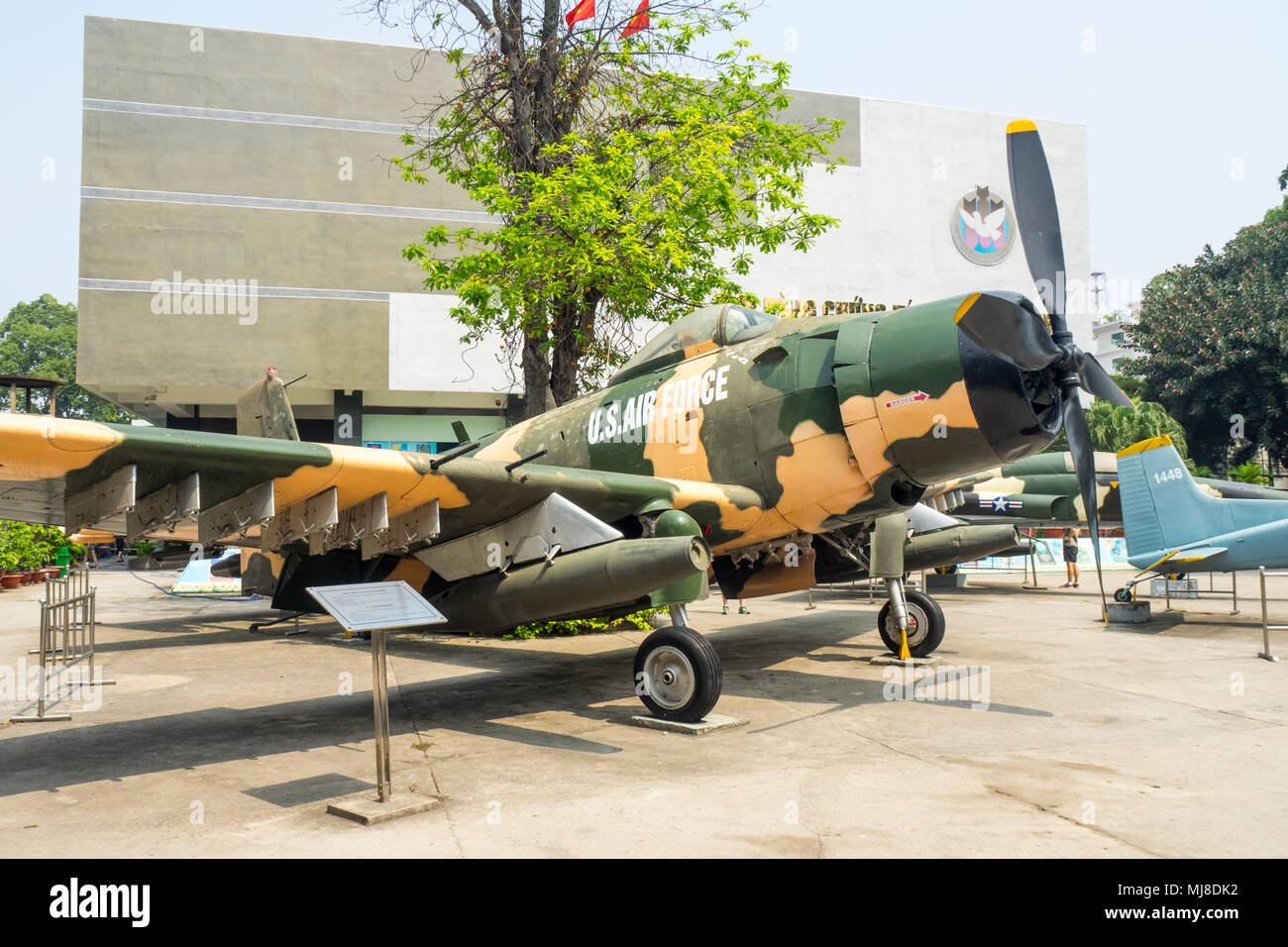 US Air Force McDonnell Douglas A-1 Skyraider plane from the Vietnam War on display at the War Remnants Museum, Ho Chi Minh City, Vietnam. - Stock Image