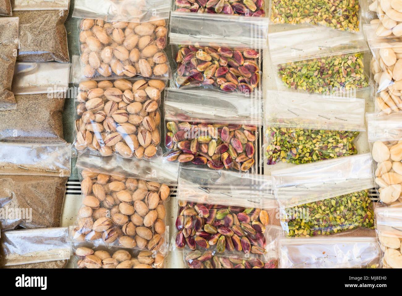 Pistachio nuts, Palermo, Ballarò market, Sicily, Italy - Stock Image