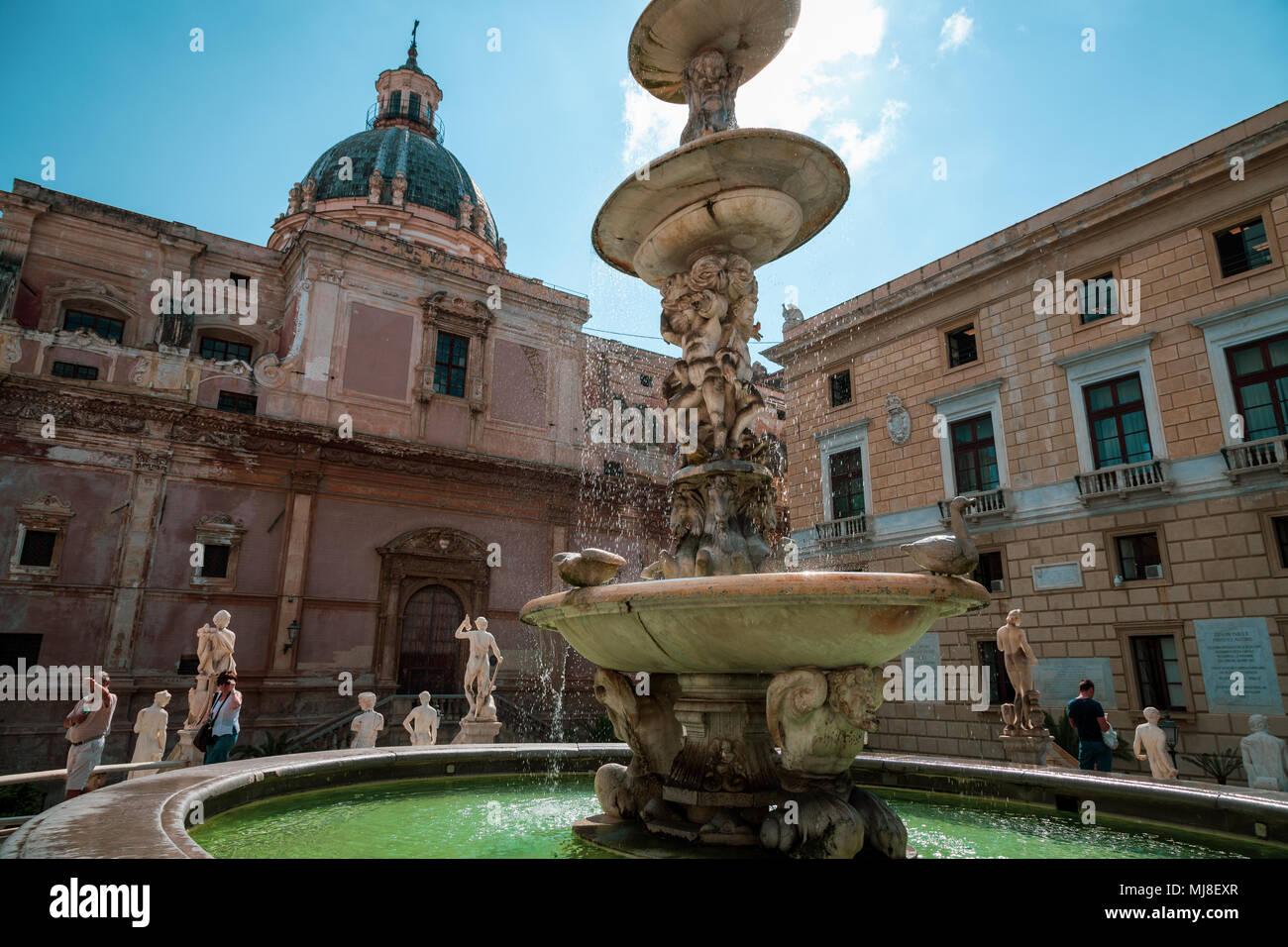 Palermo, Sicily, piazza Pretoria Stock Photo