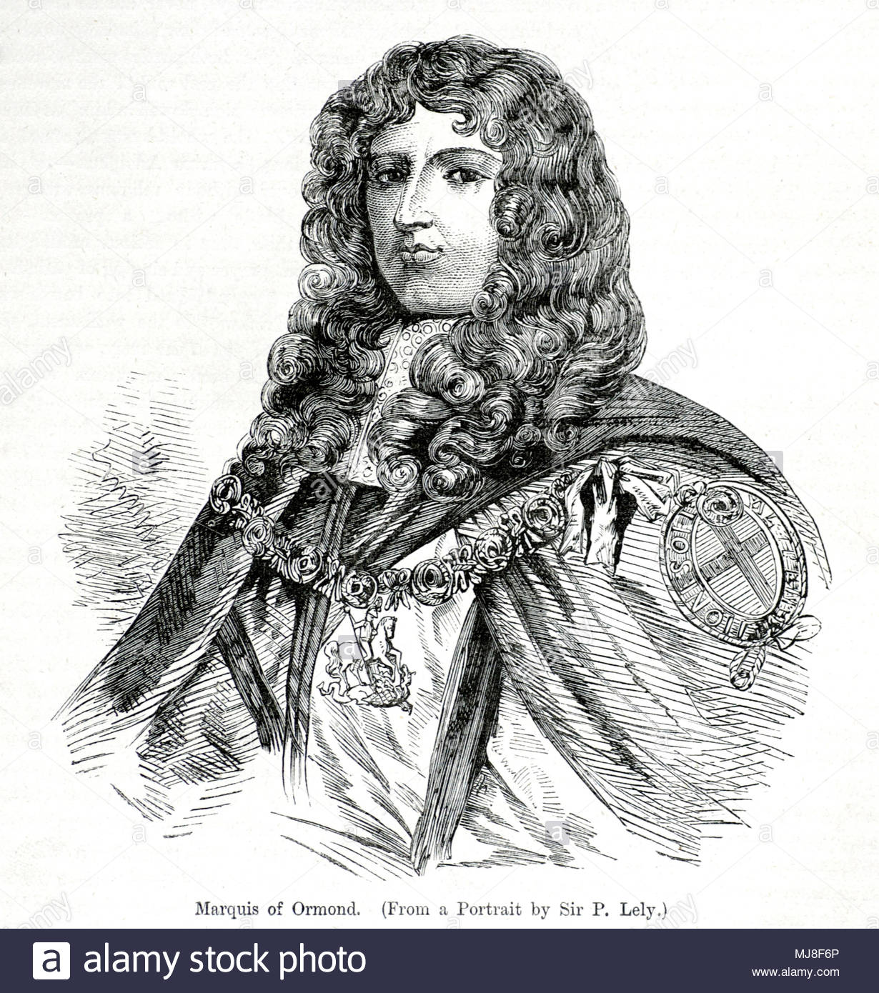 James Butler, 1st Duke of Ormond, 1610 – 1688, was an Anglo-Irish statesman and soldier, known as Earl of Ormond from 1634 to 1642 and Marquess of Ormond from 1642 to 1661, antique illustration from circa 1880 - Stock Image