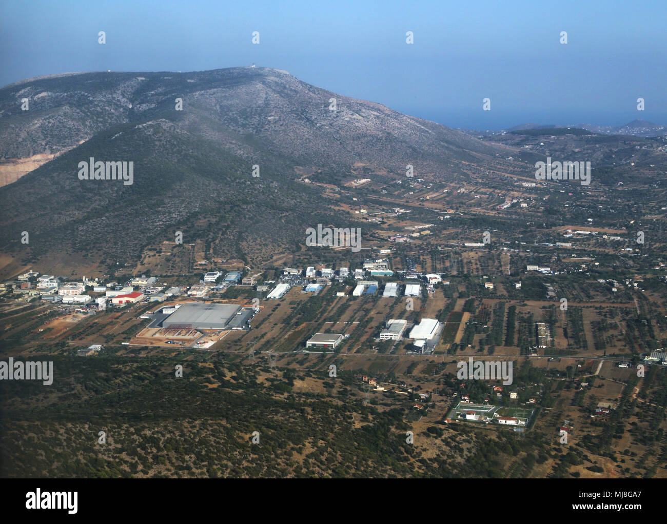 Aerial View of Greece from Aeroplane Window - Stock Image