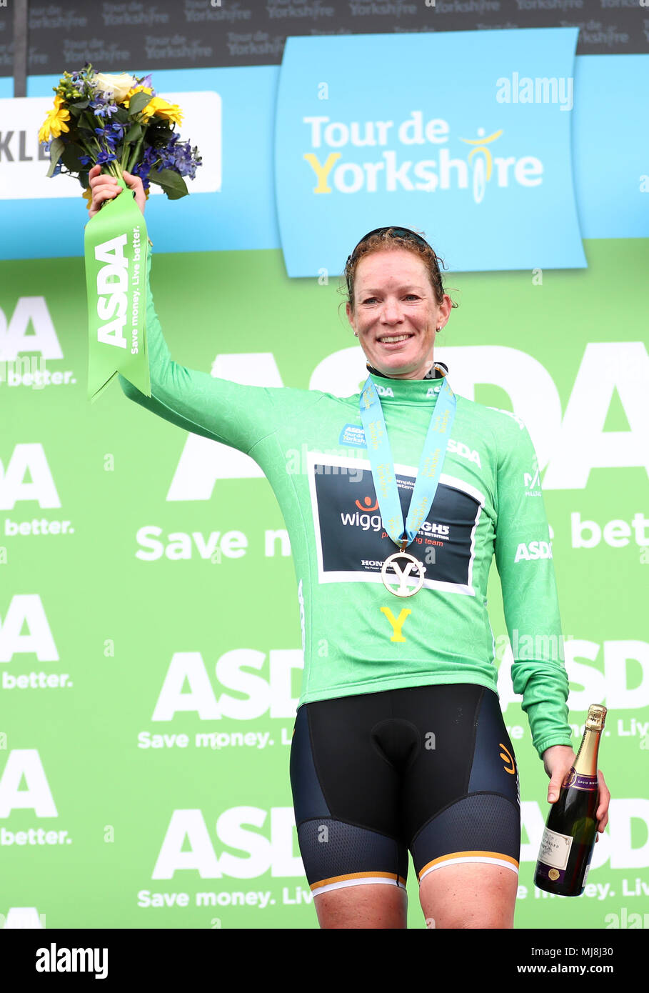 Wiggle High5 Pro Cycling's Kirsten Wild with the points jersey on the podium during day two of the ASDA Women's Tour de Yorkshire from Barnsley to Ilkley. Stock Photo
