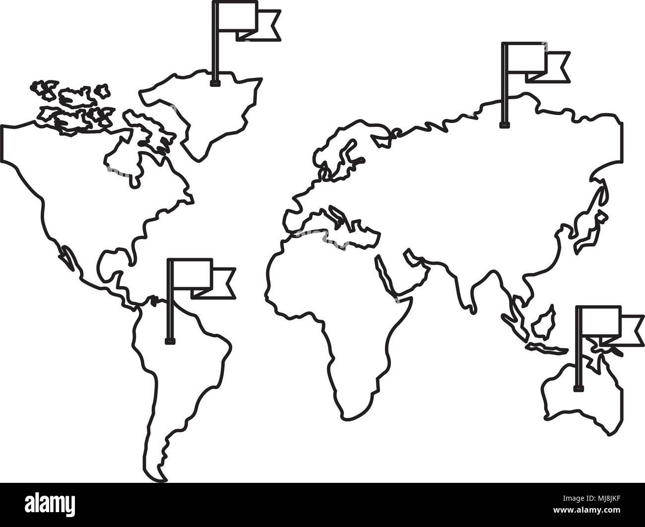 world map maps black and white stock photos images alamy St. Martin Island Caribbean world maps with flags in sticks vector illustration design stock image