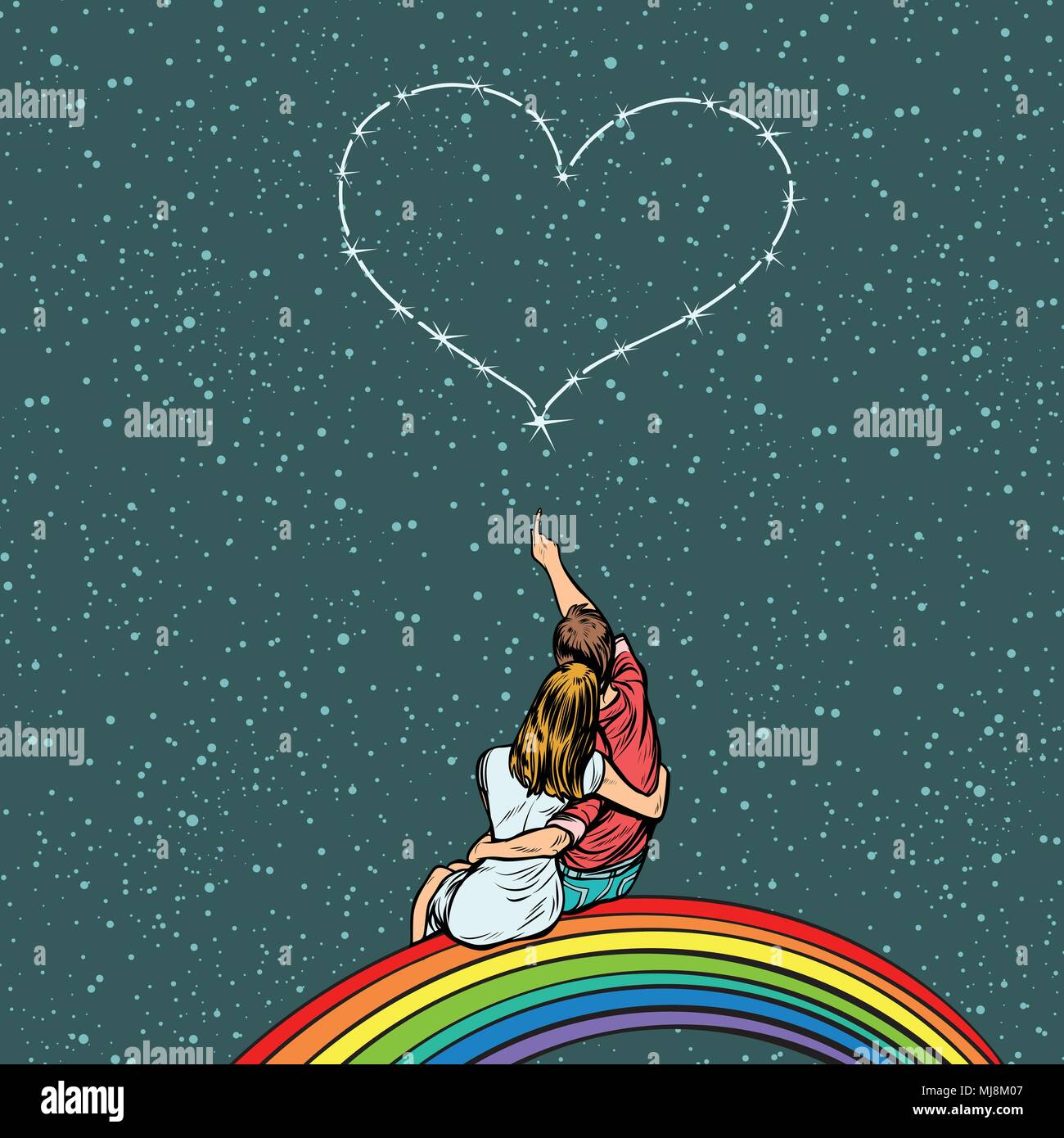 couple in love looks at the heart and sits on a rainbow - Stock Image