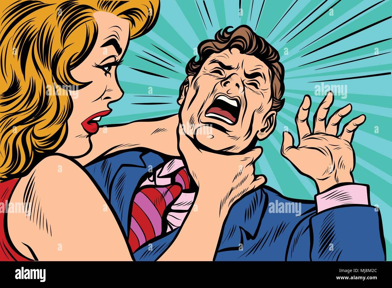 woman strangling man - Stock Image