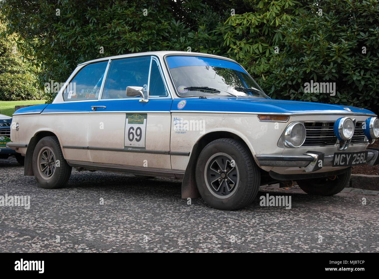 1972 White And Blue Bmw 1602 Sports Car Front Right Hand Passengers