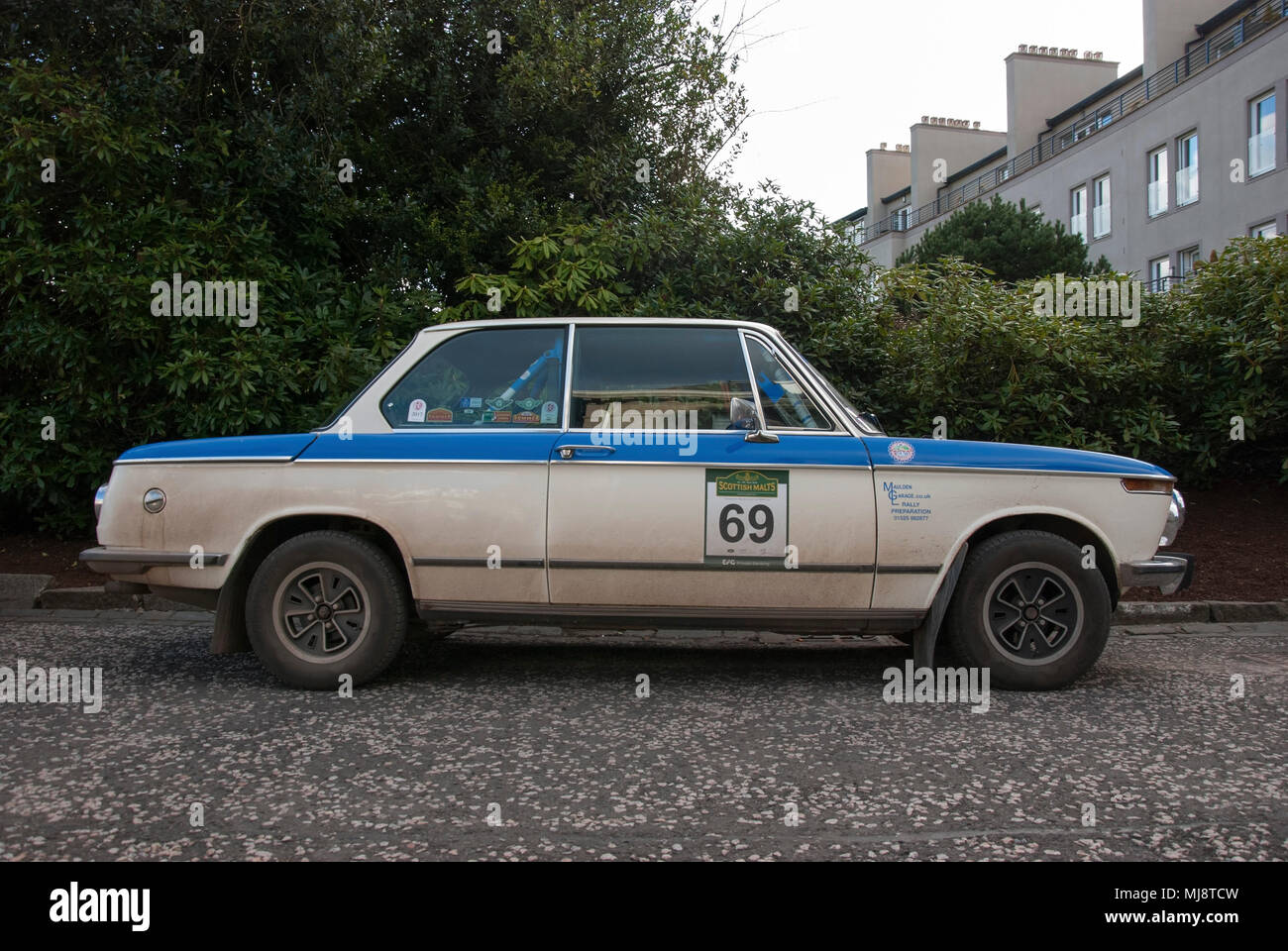 1972 White And Blue Bmw 1602 Sports Car Right Hand Passengers Side