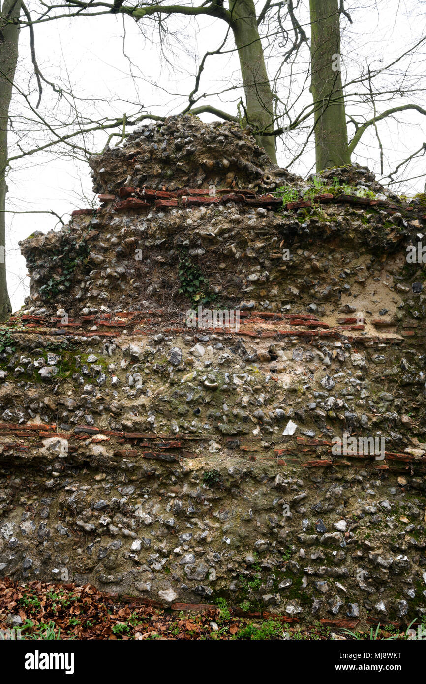 Detail of core of exterior face of south east section of two-mile-long Roman wall built AD265-70 to defend the city of Verulamium (St Albans), England - Stock Image