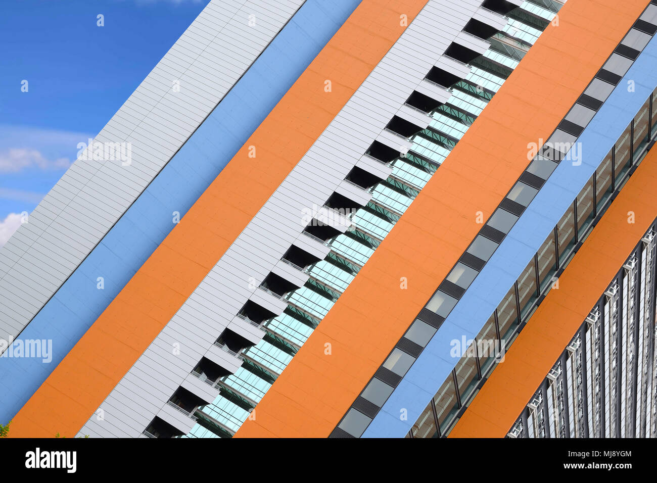 Modern building diagonal disposition. Abstract architectural background with empty copy space for Editor's text. - Stock Image