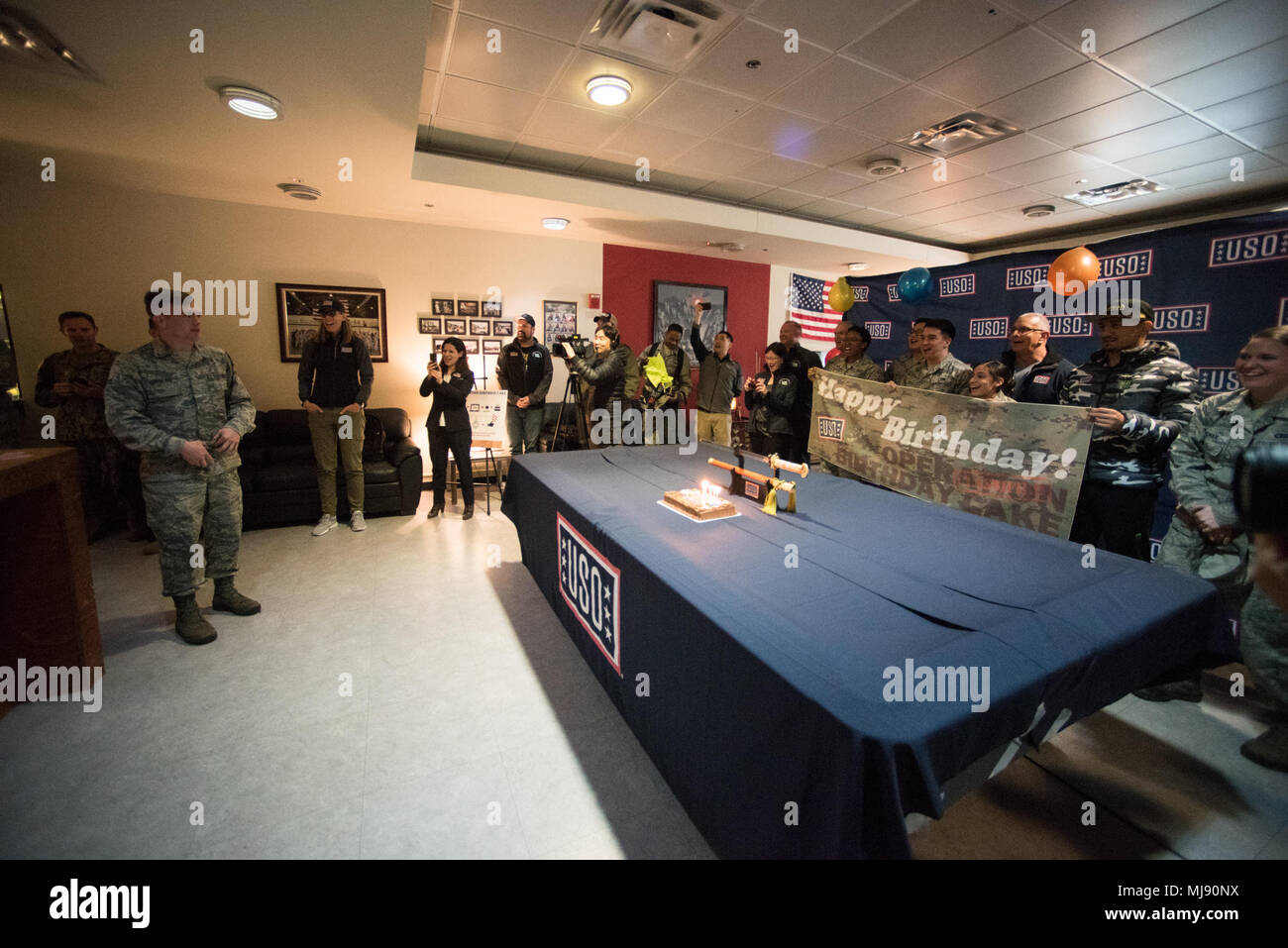 Entertainers Participate In A Uso Operation Birthday Cake Surprise