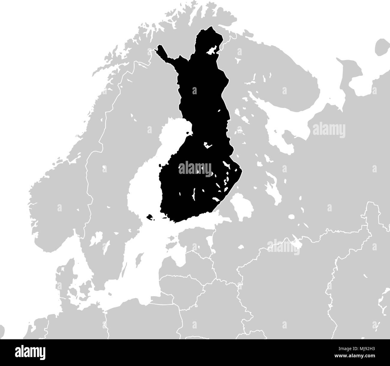 Finland with neighboring European countries. high detailed vector map - monocrome - Stock Image