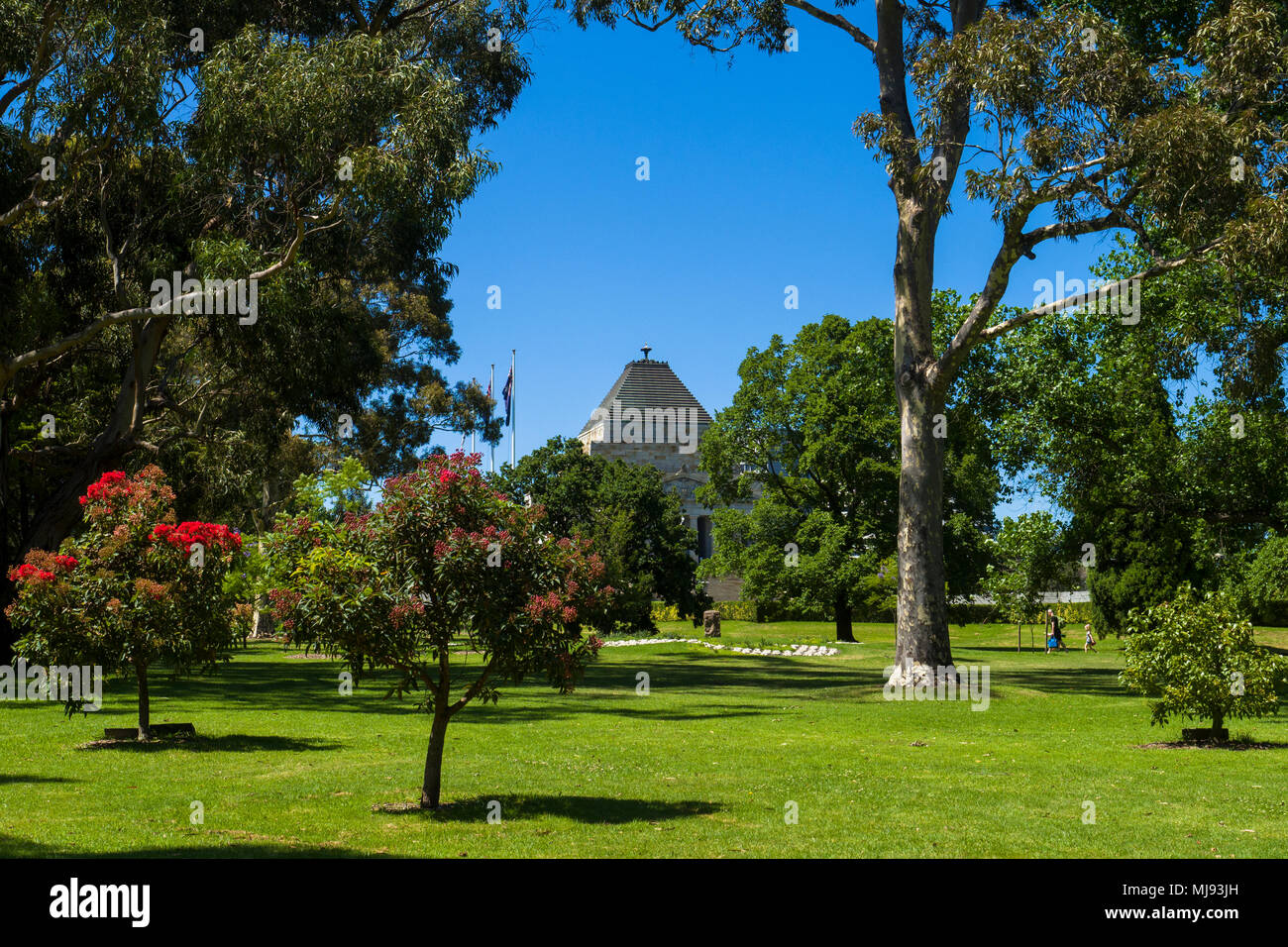 Kings Domain park with view of summit of the Shrine of Remembrance, Melbourne, Victoria, Australia. - Stock Image