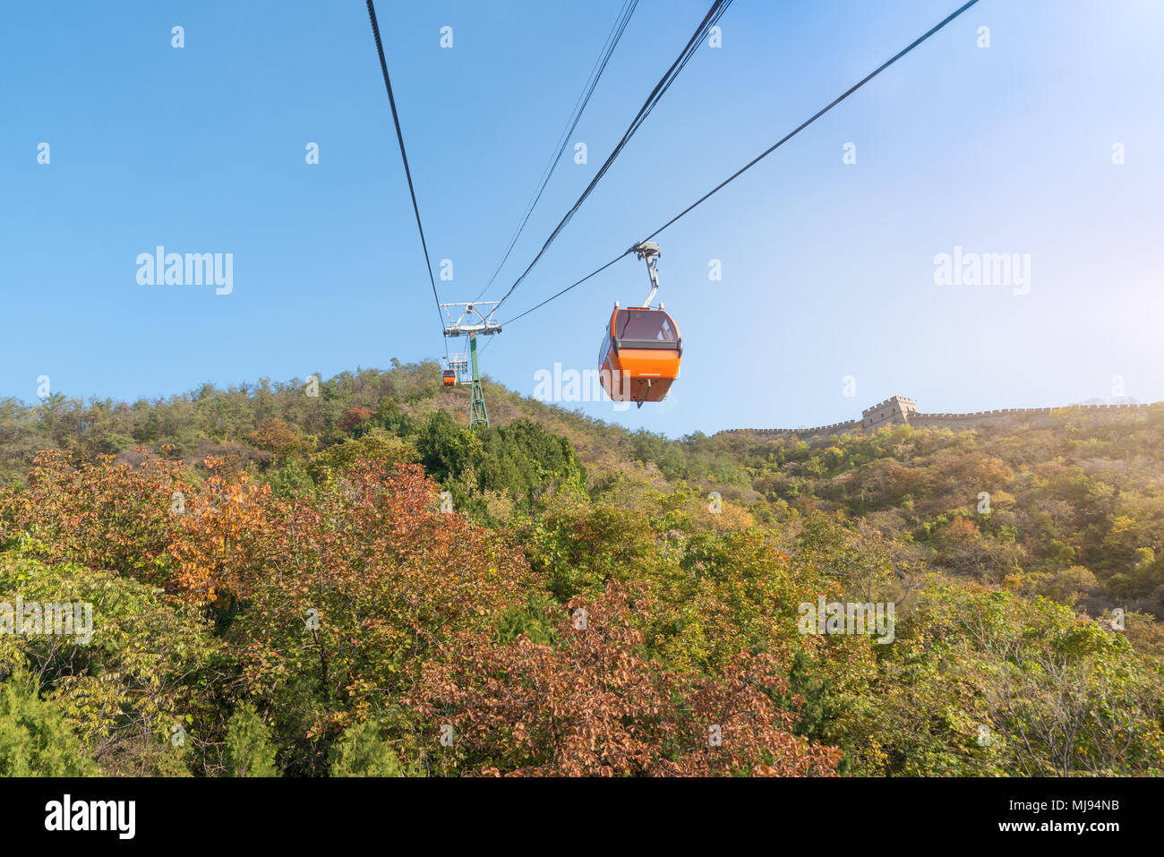 Cable car taking visitors up to the Mutianyu section of the Great Wall of China located in Huairou Country northeast of Central Beijing. Stock Photo