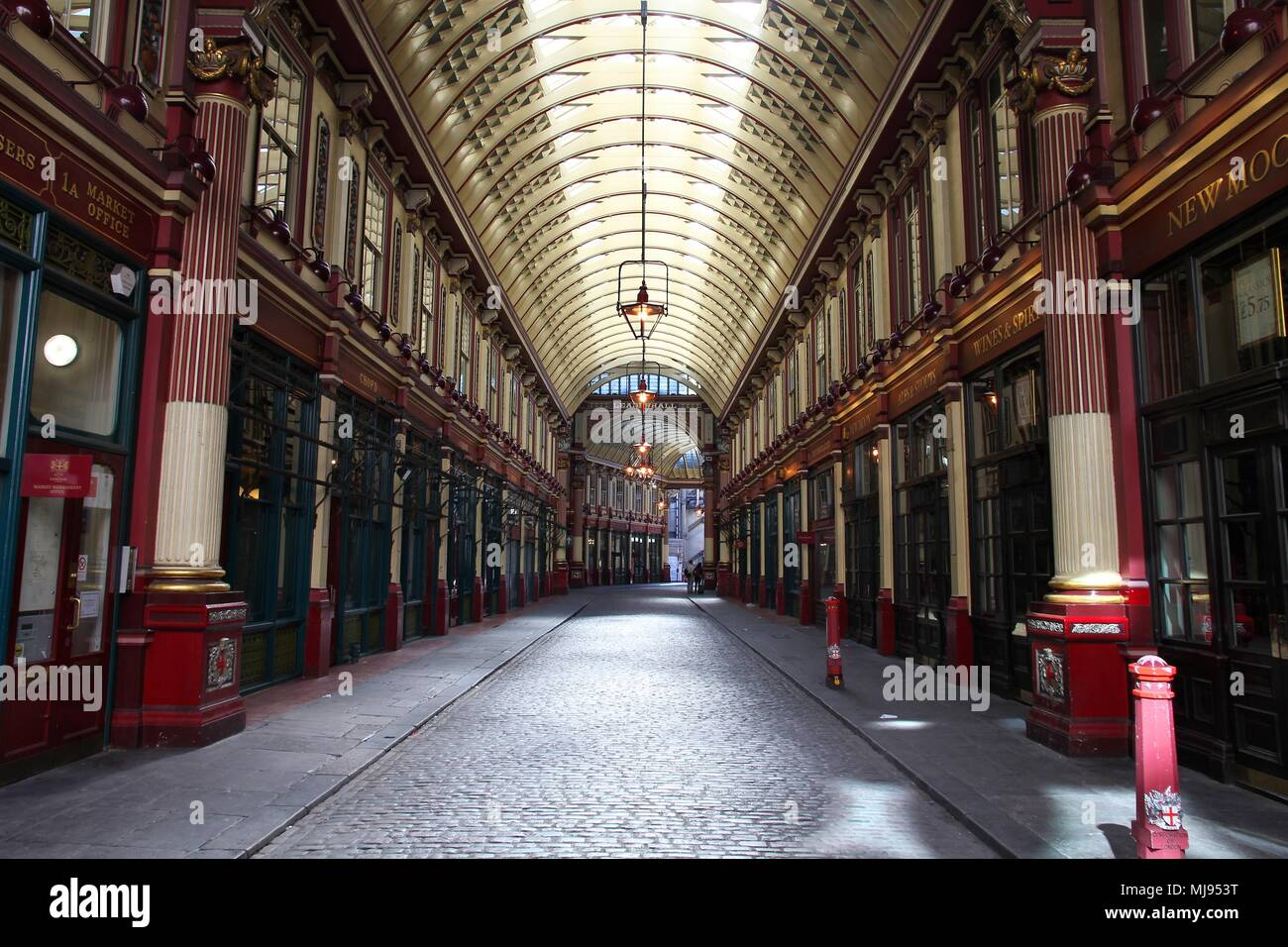 LONDON - MAY 13: Leadenhall market on May 13, 2012 in London. It is one of the oldest markets in London, dating back to the 14th century. - Stock Image