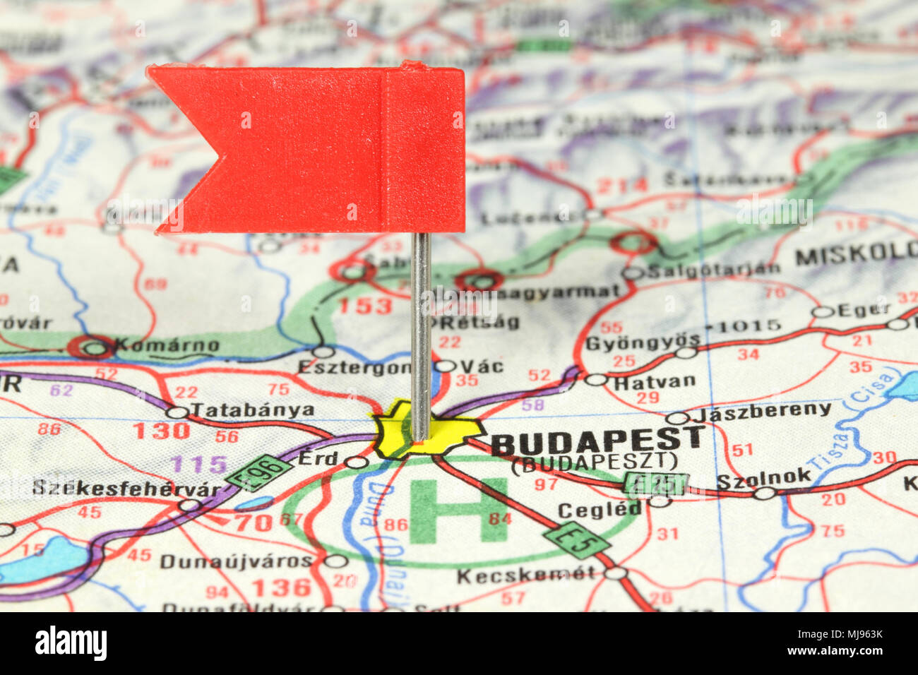 Budapest - famous city in Hungary. Red flag pin on an old map ...