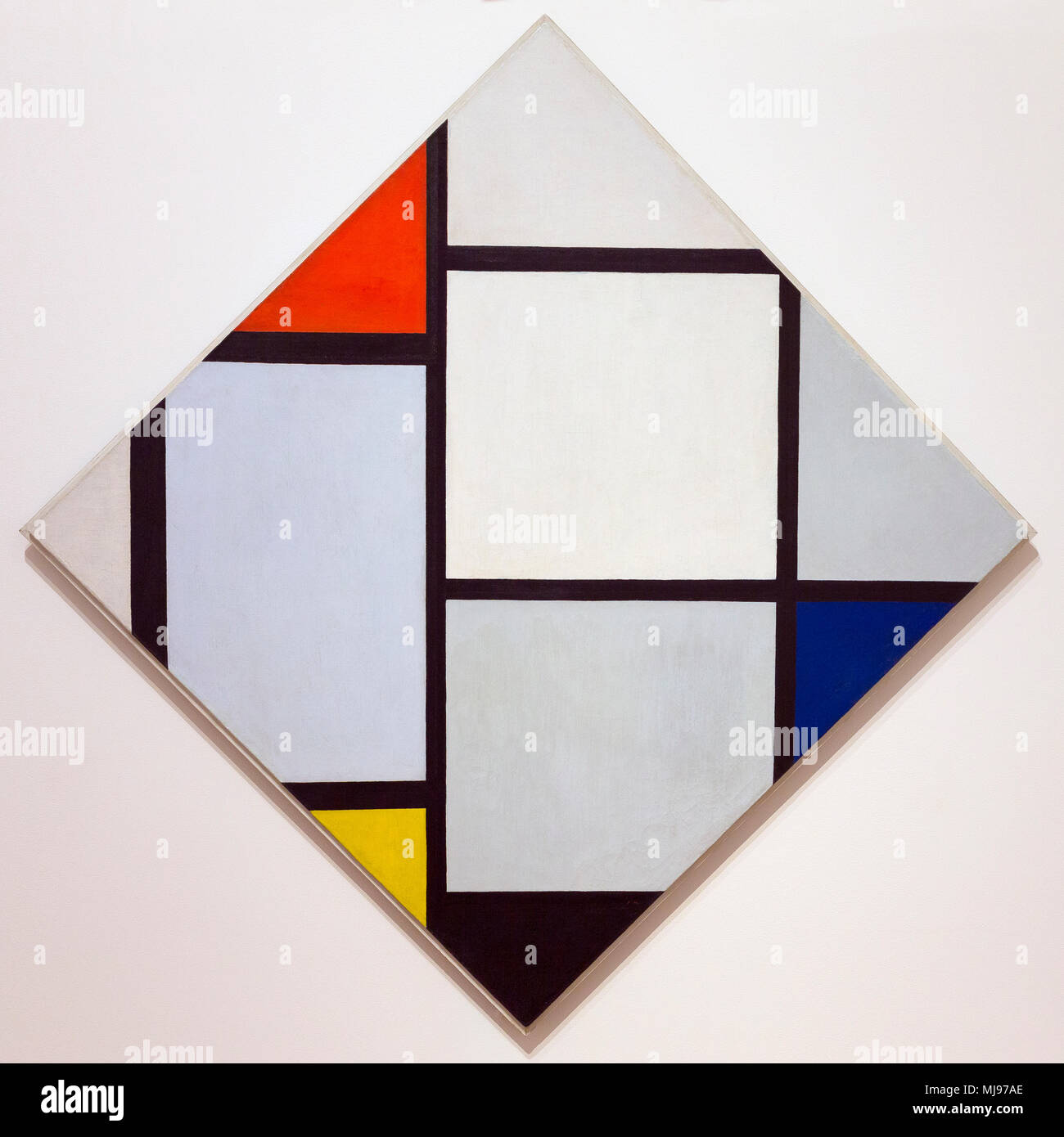 Tableau No. IV, Lozenge Composition with Red, Gray, Blue, Yellow, and Black, Piet Mondrian, 1924-1925, National Gallery of Art, Washington DC, USA, No - Stock Image