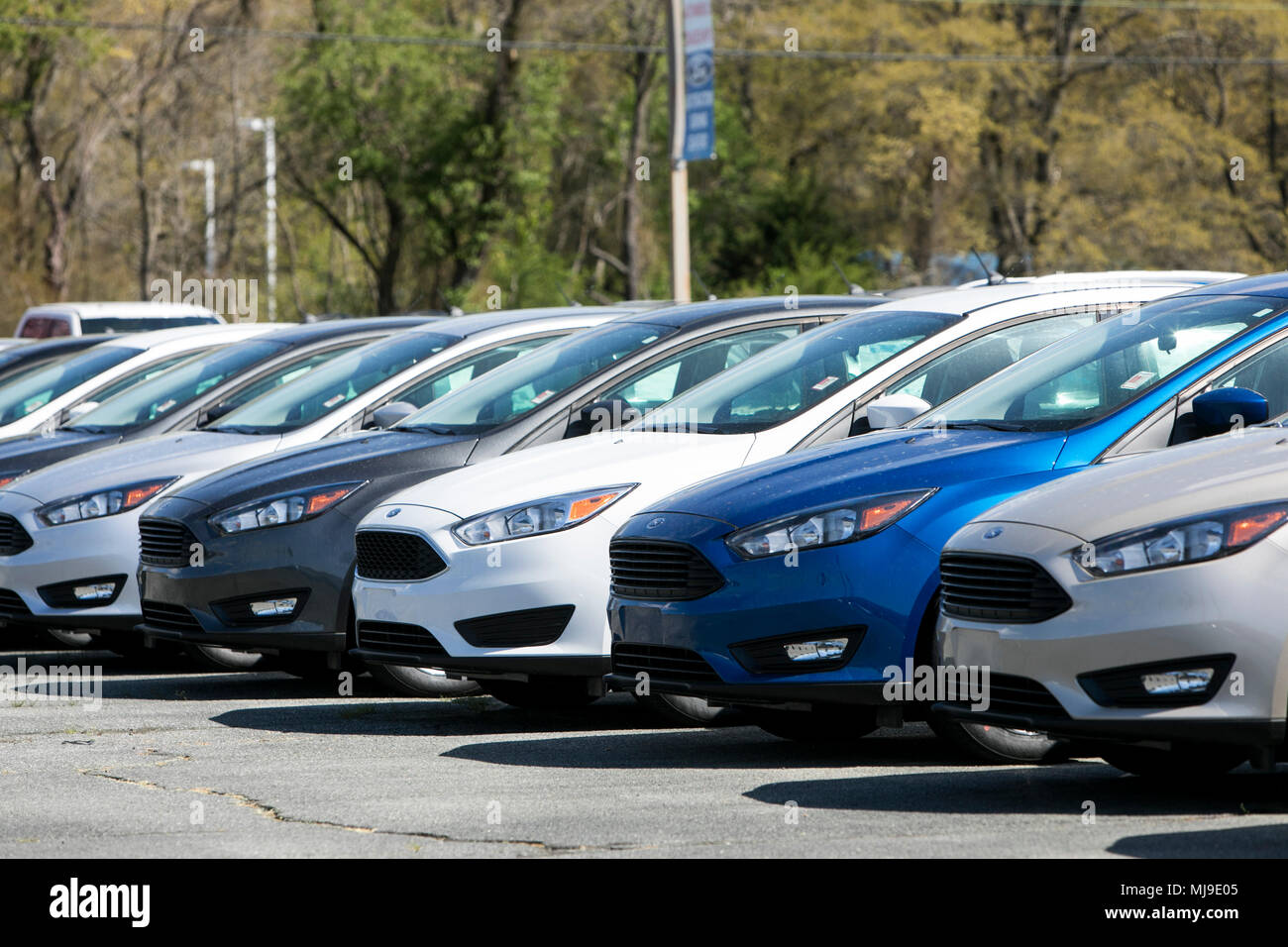 Ford Fiesta, Focus and Fusion passenger cars on a dealer lot in Seaford, Delaware on April 29, 2018. - Stock Image