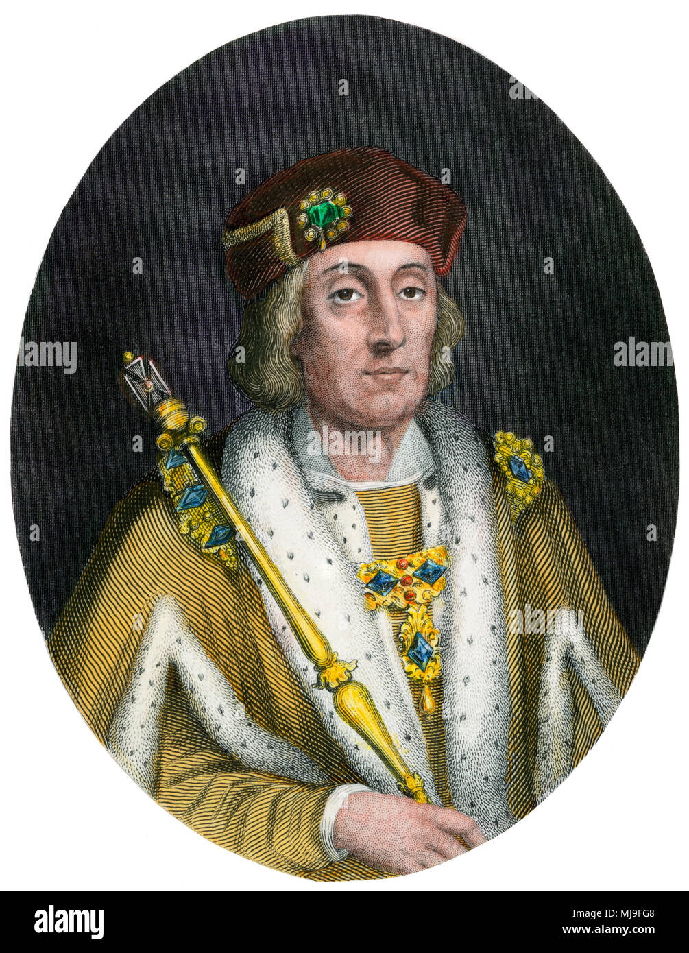 Henry VII, or Henry Tudor, King of England 1457-1509. Hand-colored engraving - Stock Image