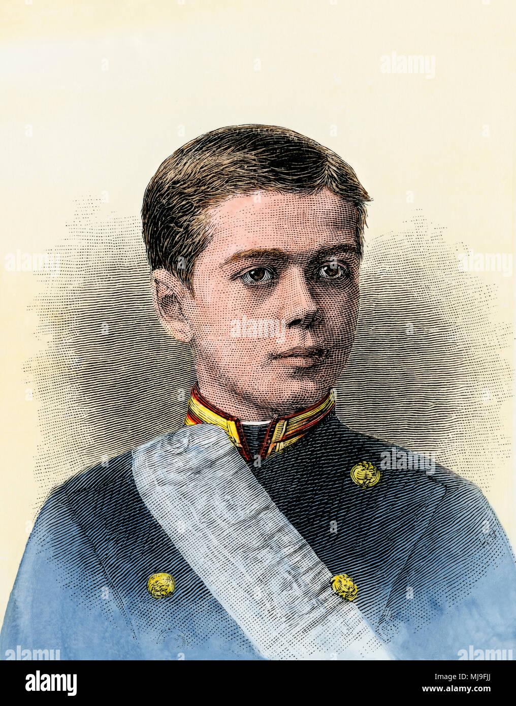 Czar Nicholas II as a boy, when he was the Grand Duke Nicholas Alexandrovitch, the heir-apparent, 1880s. Hand-colored woodcut - Stock Image