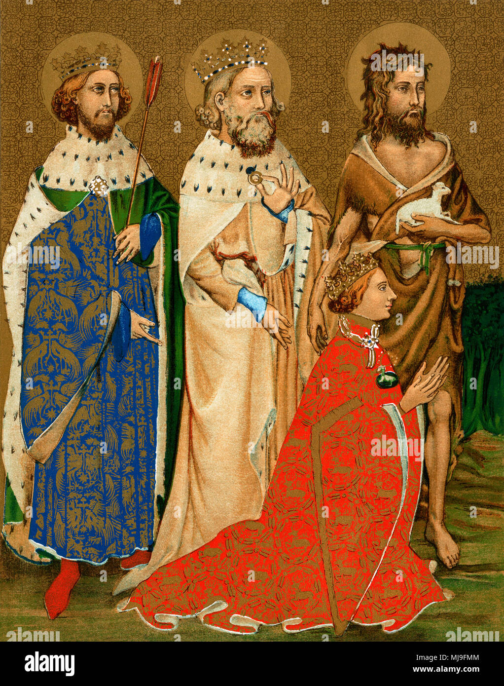 Richard II (kneeling) and his patron saints Edmund, Edward the Confessor, and John the Baptist.  Lithographic reproduction of diptych painting - Stock Image