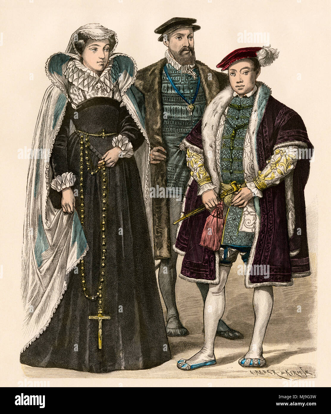 Mary, Queen of Scots, with Archibald Douglas, Earl of Angus, and his nephew Edward VI of England. Hand-colored print - Stock Image