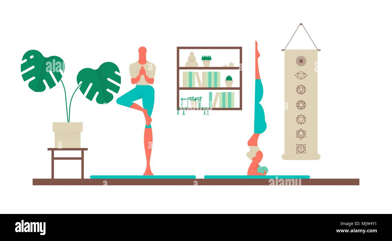 Man And Woman Exercising At Yoga Studio Sport Fitness Illustration Of Healthy People Lifestyle With Modern House Interior Decoration Eps10 Vector Stock Vector Image Art Alamy
