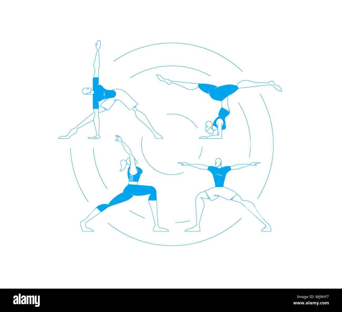 Set Of People Doing Yoga Poses Workout Women And Men Exercising In Modern Flat Outline Style EPS10 Vector