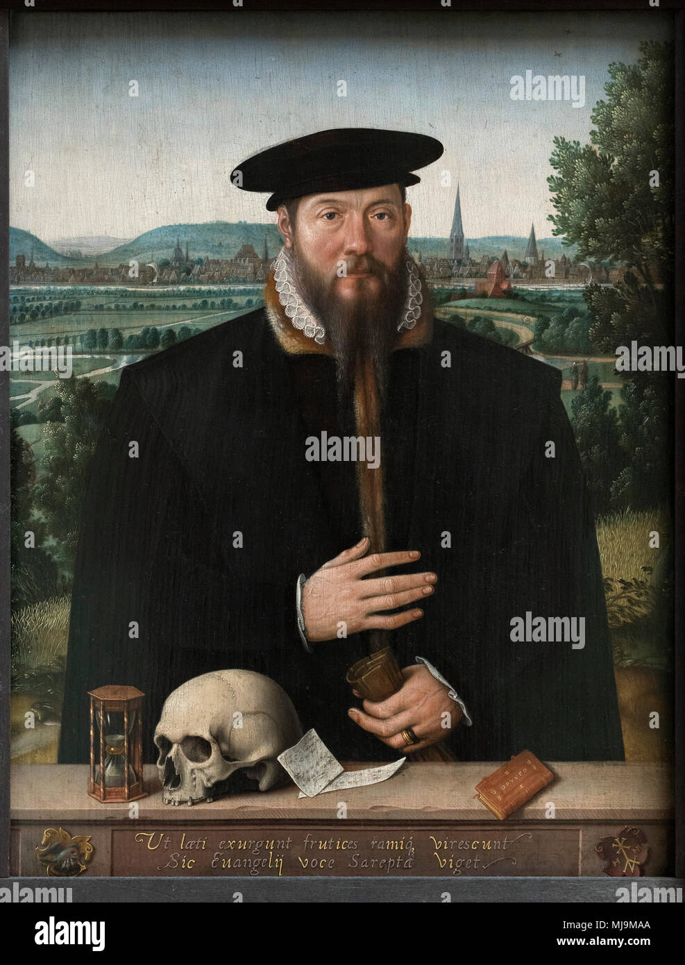 Ludger Tom Ring the Younger (1522-1584), Portrait of Herrmann Huddaeus, (1517/18-ca.1575) in front of a view of the city Minden, 1568. Herrmann Huddae - Stock Image