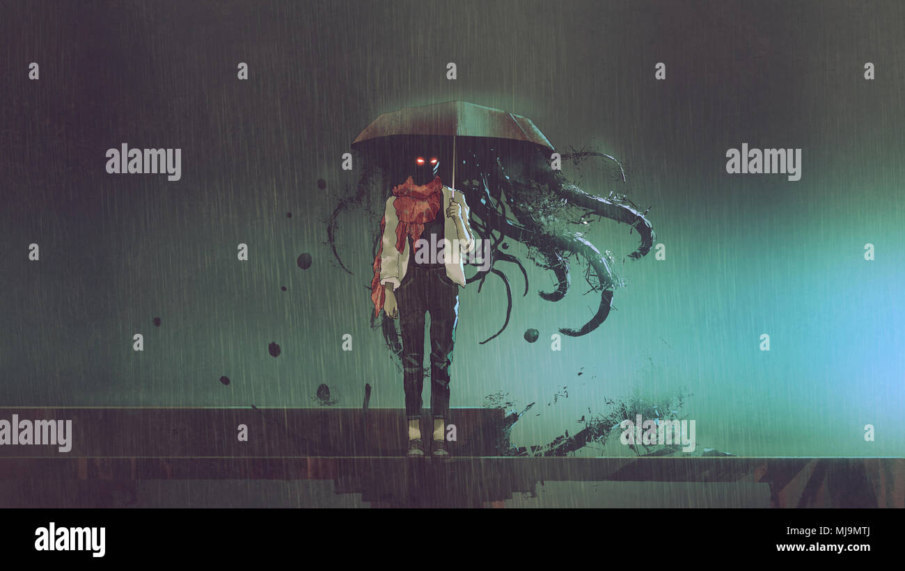 horror concept of mystery woman holding the umbrella with black tentacles inside in the rainy night, digital art style, illustration - Stock Image