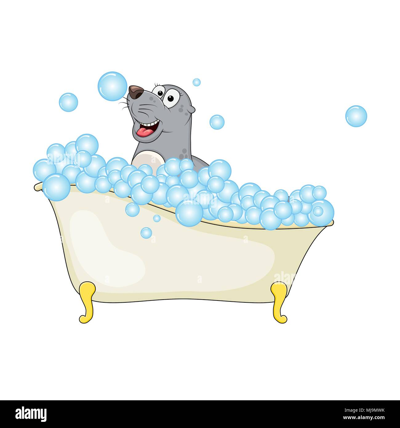 Cartoon seal in bathtub witth bubbles isolated on white background ...