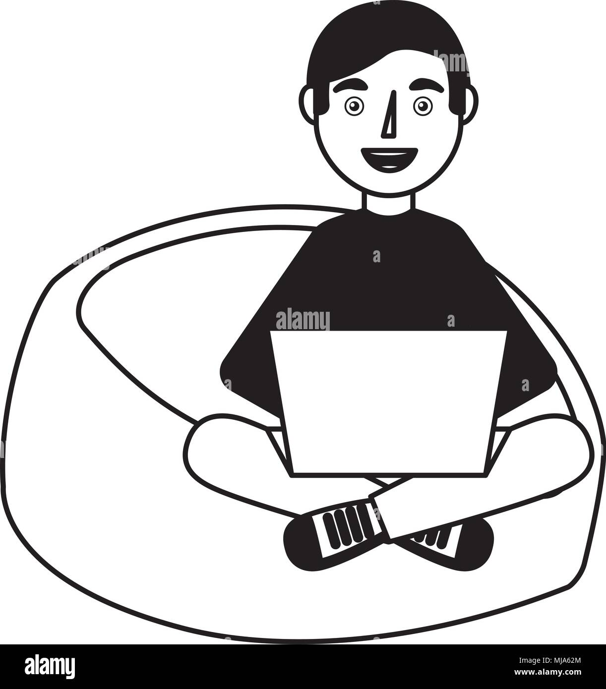 happy young man sitting bean bag in chair with laptop vector illustration - Stock Vector