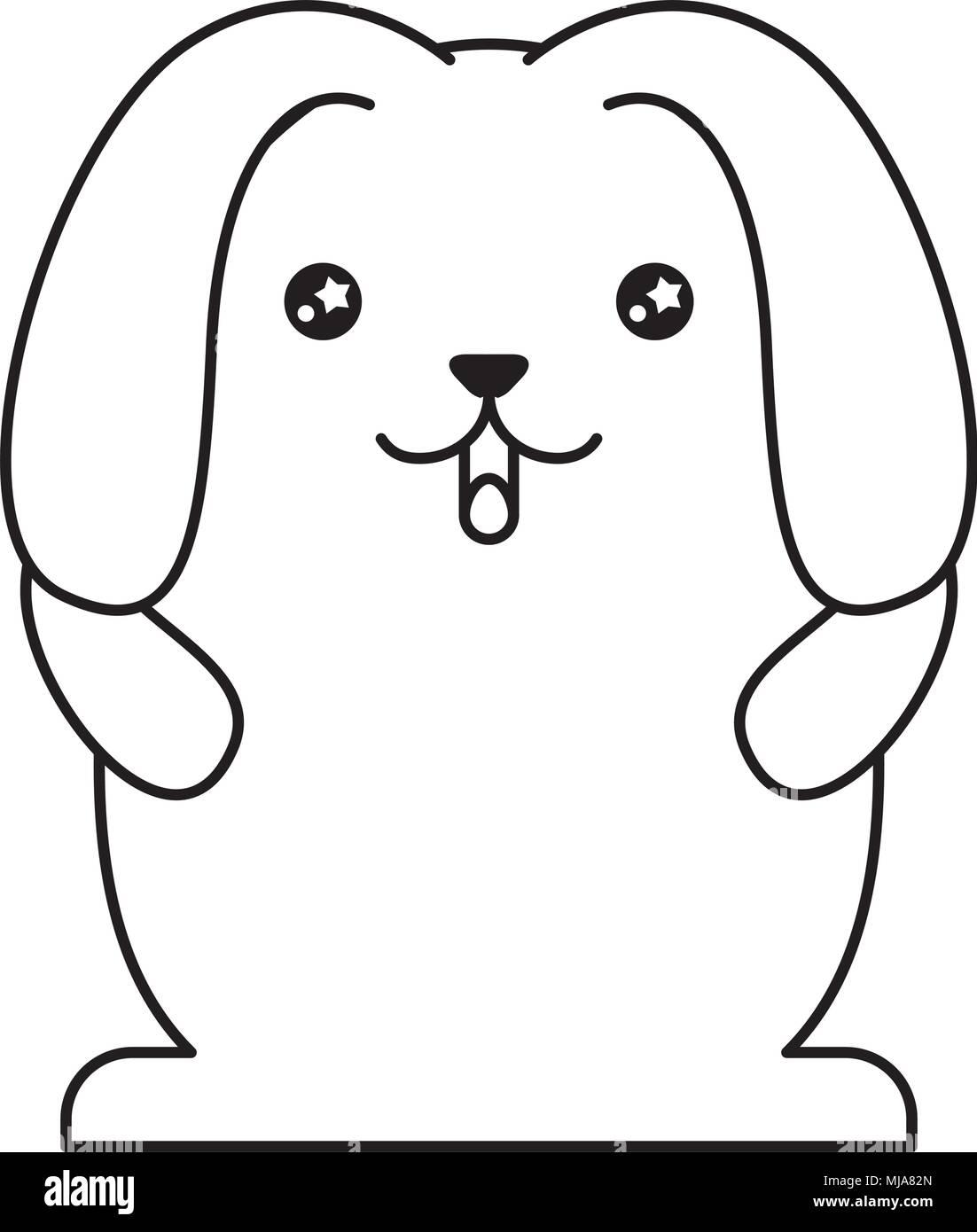 cute rabbit with floppy ears kawaii character vector illustration design - Stock Image