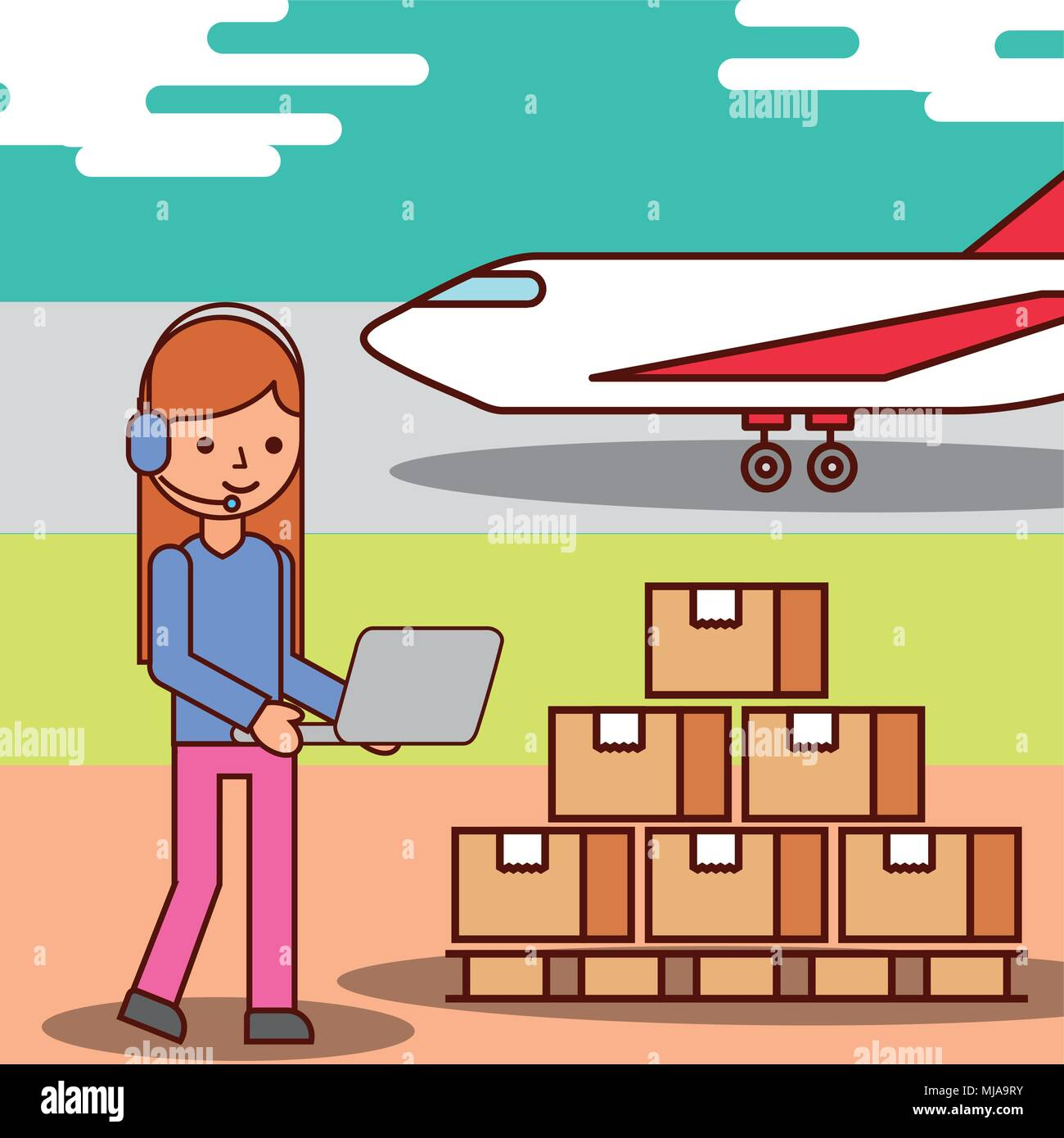 woman cartoon operator logistic cardboard boxes and plane transport - Stock Image