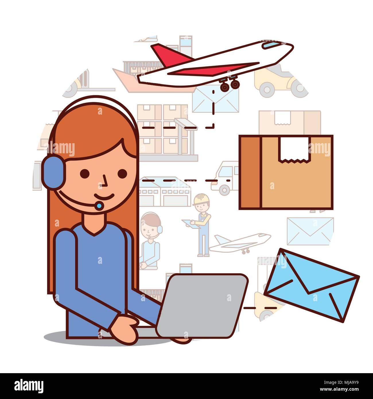 woman operator logistic headset and box envelope airplane - Stock Image