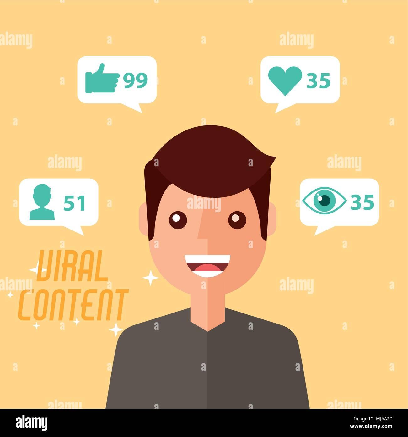 portrait man viral content - Stock Image