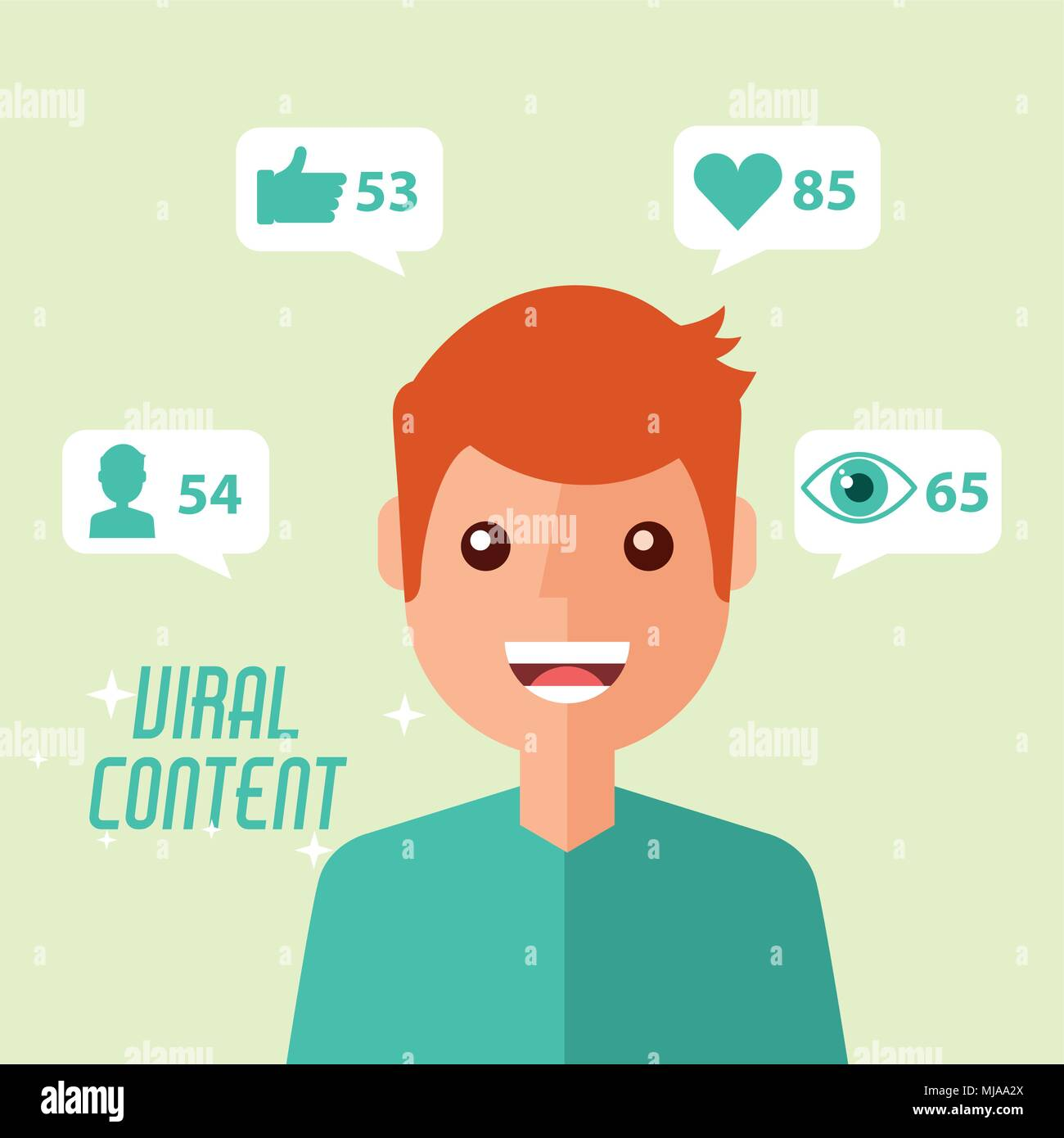 portrait man viral content internet - Stock Image