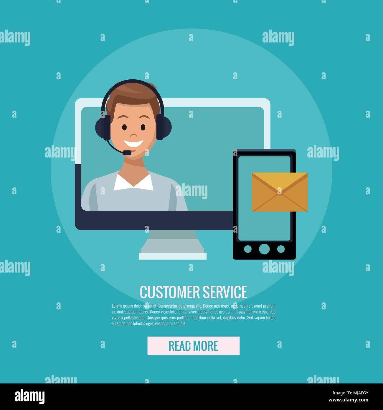 Online customer service - Stock Vector