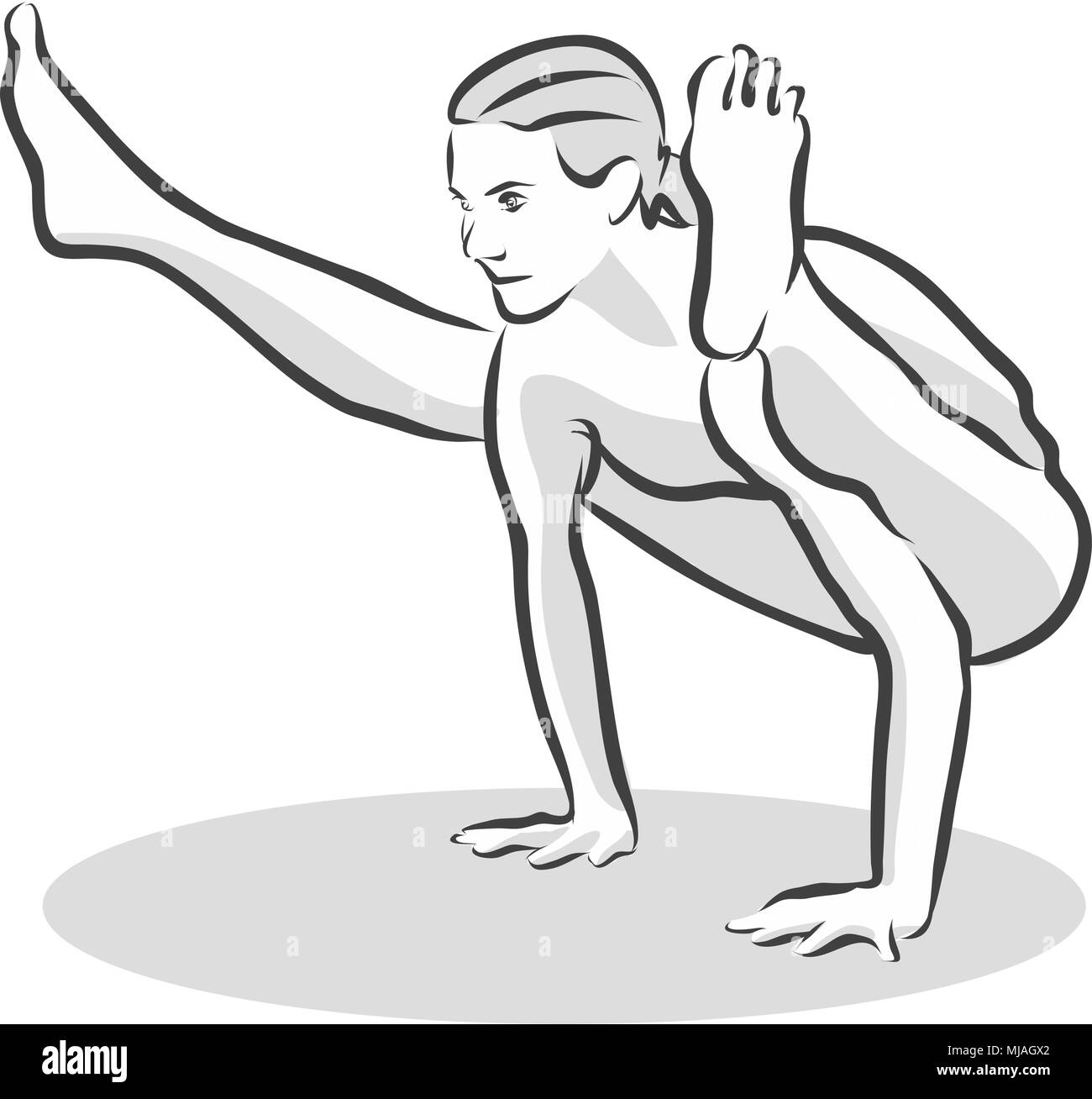 Old Black Crow Creepy Crawly Tittibhasana Yoga Pose, Free Hand drawn vector halftone Sketch - Stock Image