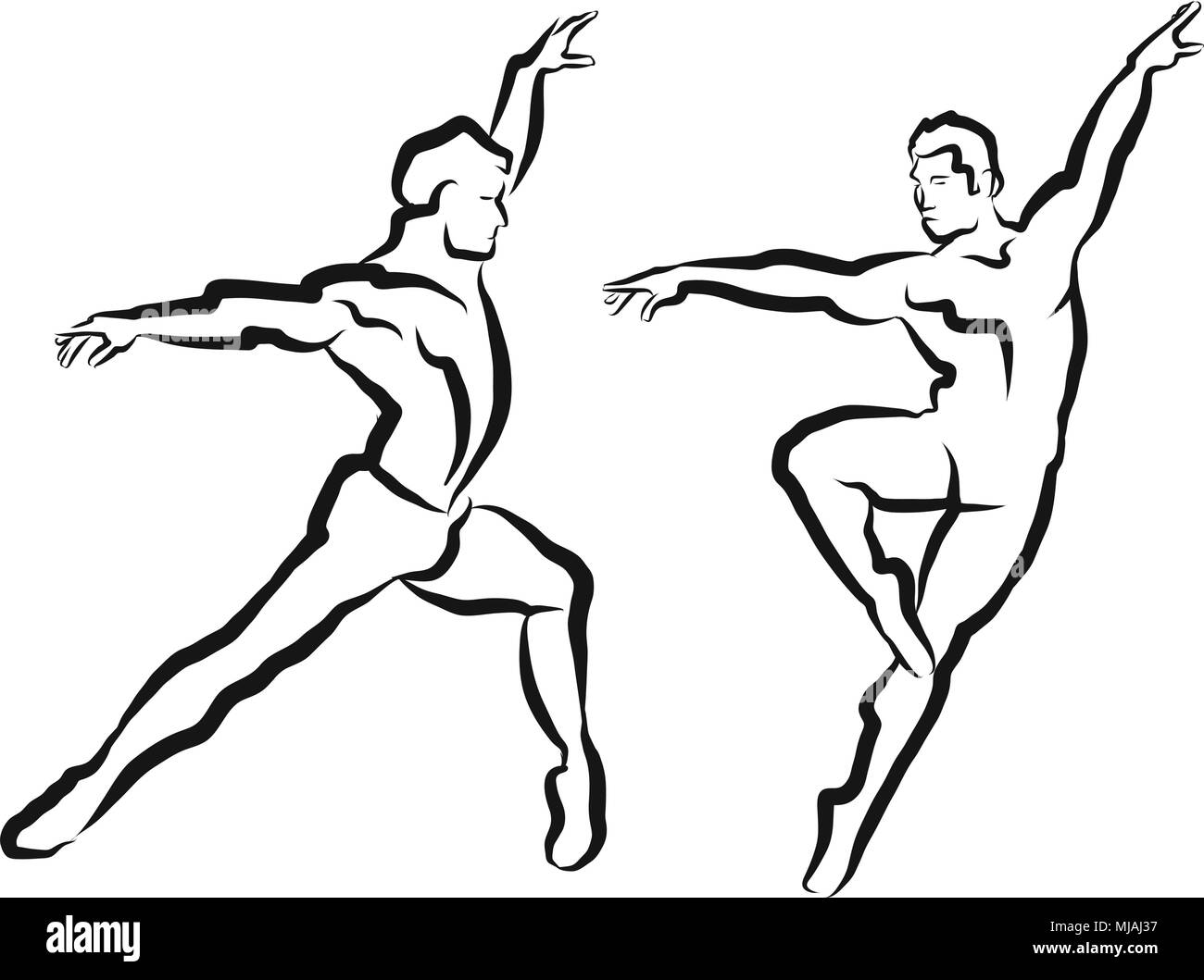 Two Dancer Outline Silhouette Sketch, Vector Hand Made Artwork - Stock Vector