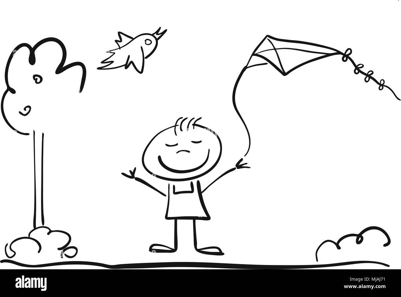 Kindergarten Kind mit Drachen Schwarzweiß Vektor Skizze Illustration - Stock Image