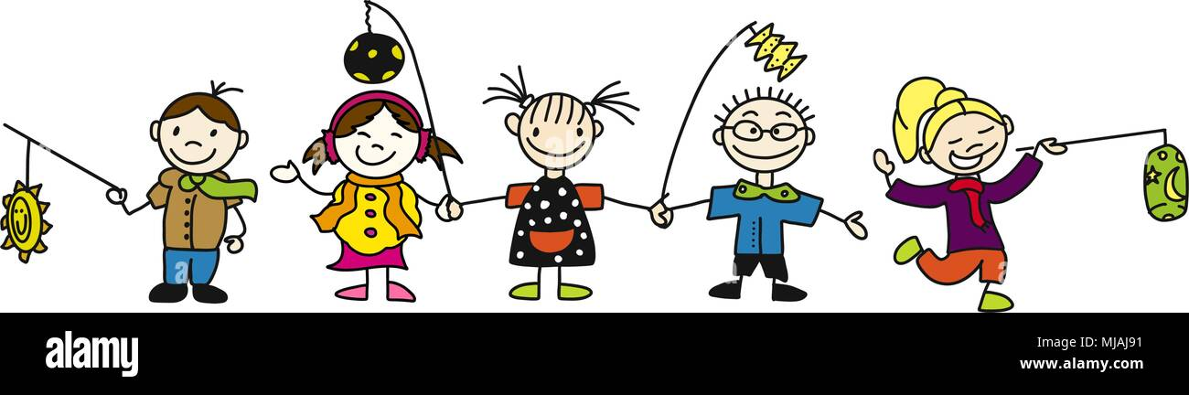 St. Martin Laternenumzug Kindergarten Kinder als Banner, Freihandskizze Vektor Illustration Stock Vector