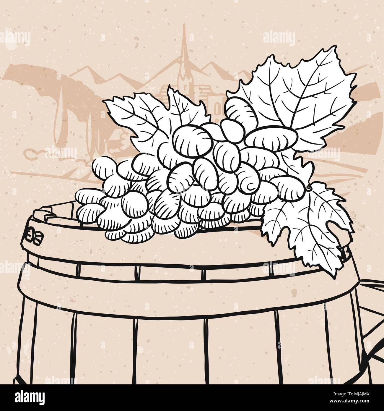 Grapes on sketched wooden barrel with wine, Hand drawn Vector Artwork Stock Vector