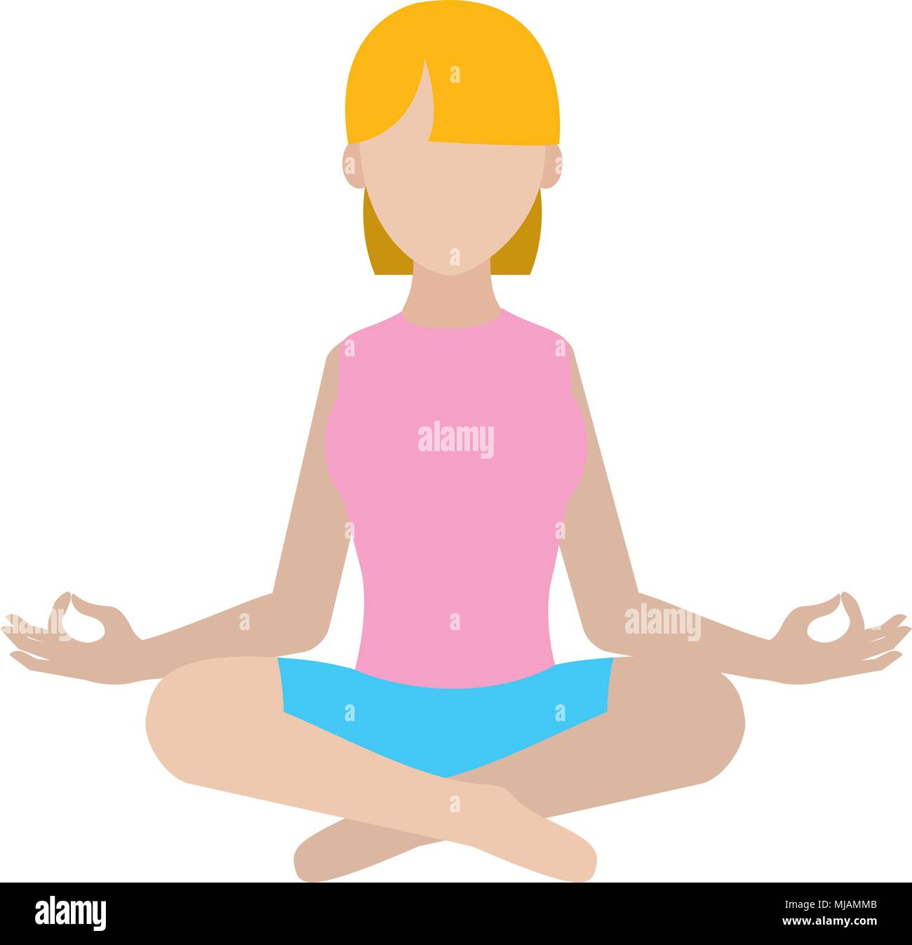 woman sitting with yoga relaxation position - Stock Vector