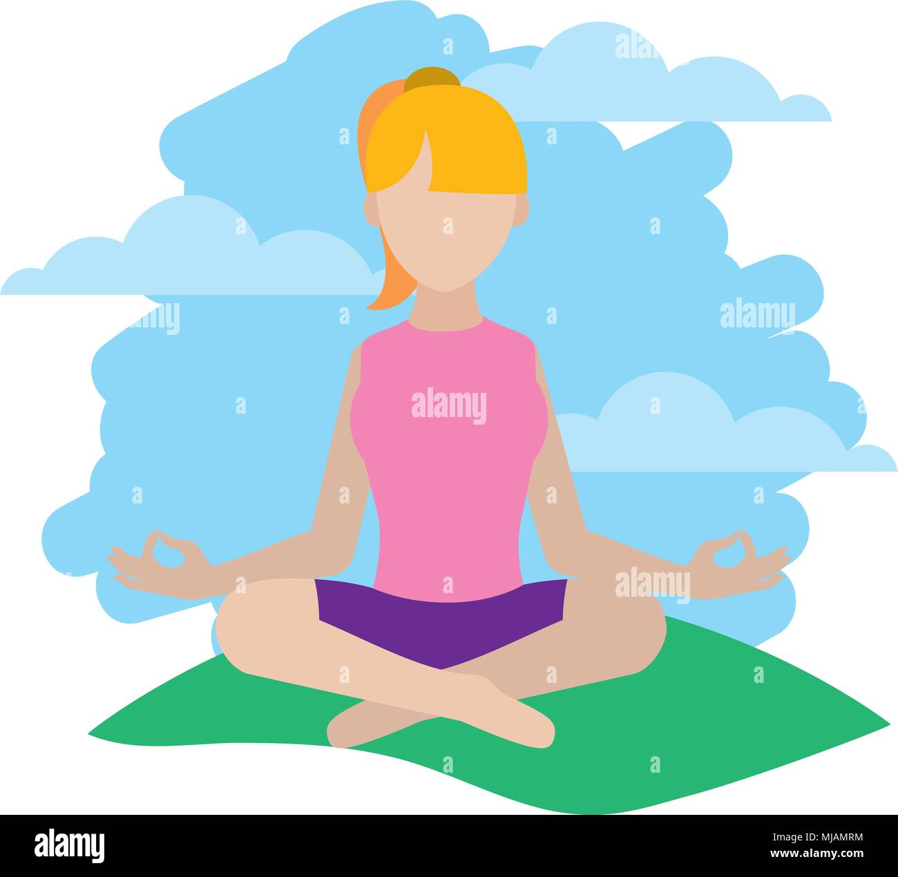 woman sitting yoga position in the landscape - Stock Vector