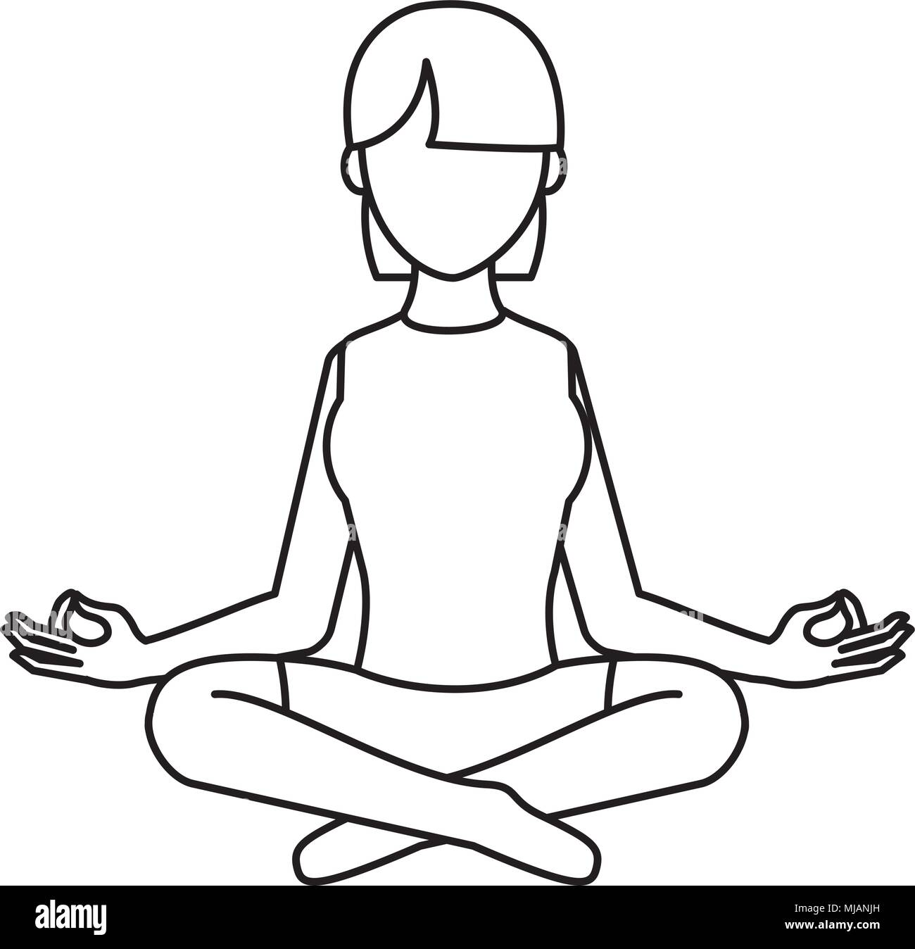 line woman sitting with yoga relaxation position - Stock Vector
